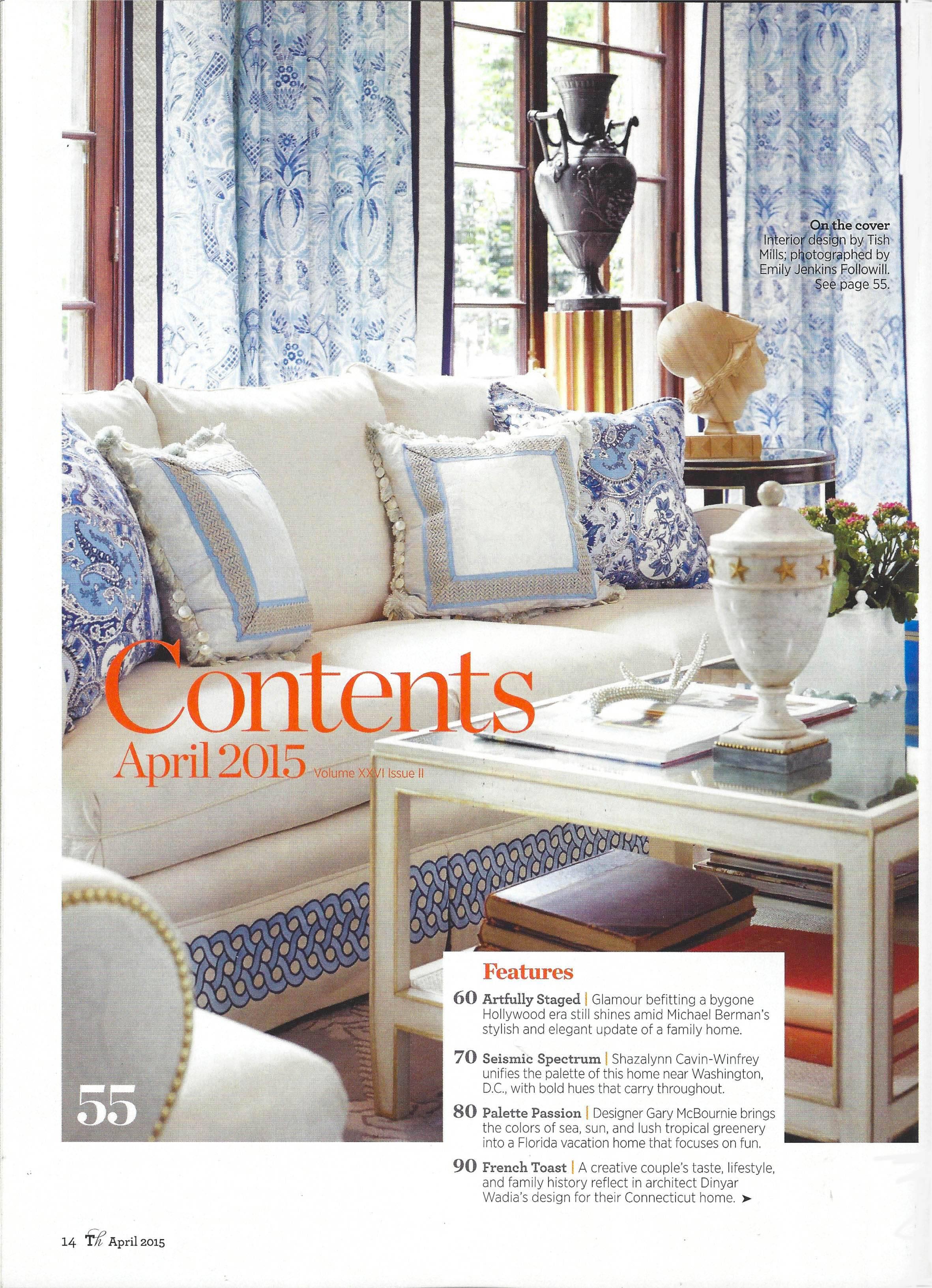 Press - Interior Design News - Traditional Home, April 2015 ...