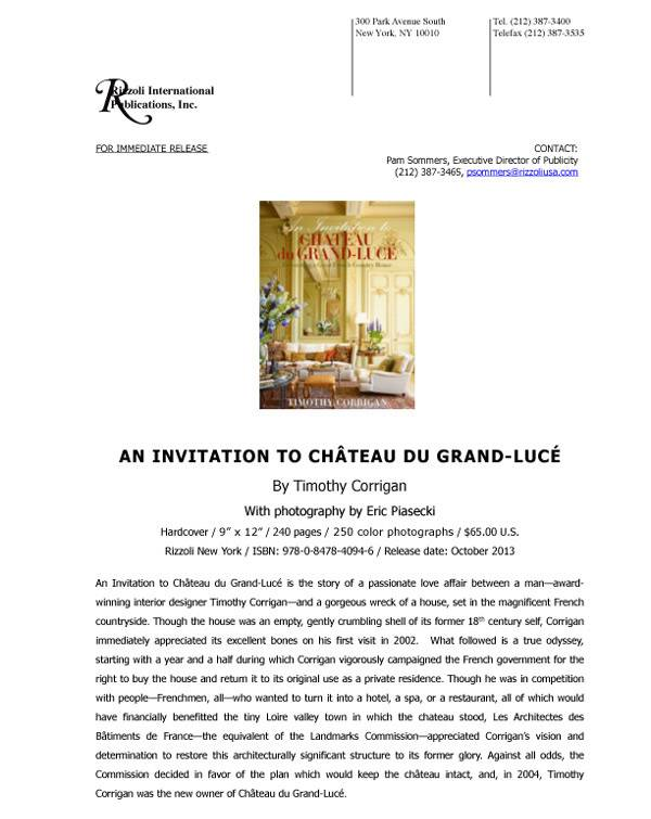 An Invitation to Chateau du Grand-Luce Press Release
