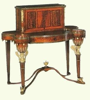 A Russian bureau-jardiniere in mahogany, mahogany veneer, gilt and patinated bronze and brass with an embroidered panel, from the Heinrich Gambs workshop, 1805-1810, Timothy Corrigan