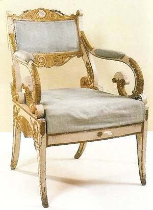 Russian armchair in carved, painted and gilded wood with lateral uprights in one piece, Timothy Corrigan
