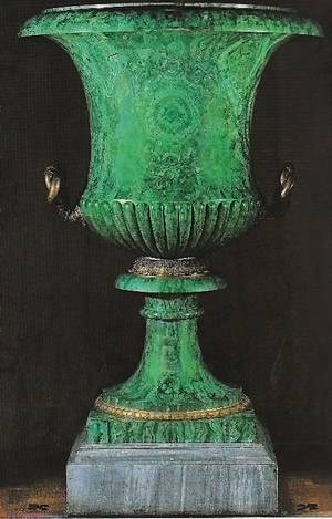 A large malachite vase with bronze mounts, c. 1850, Timothy Corrigan