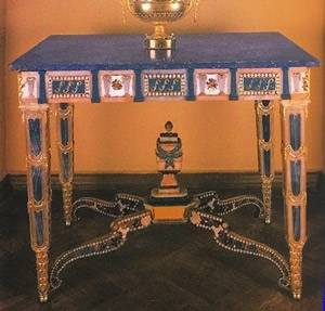 One of a pair of Russian tables in hard stones, gilt bronze and smalt with tops in lazurite from the Urals, made at Peterhof, c. 1790, Timothy Corrigan